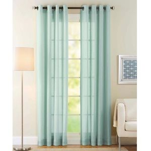 NWT 2 Aqua 84in Semi Sheer Grommet Curtain Panels